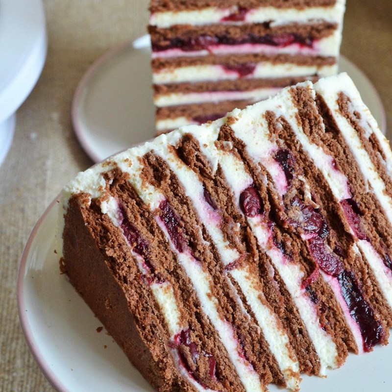 Chocolate cake with cottage cheese & cherries-5