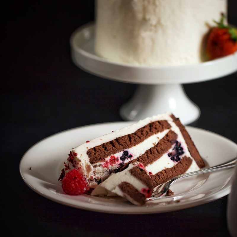 Vertical chocolate cake with yoghurt souffle-2