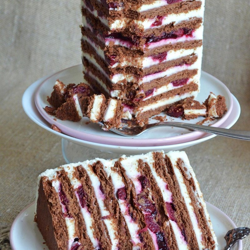 Chocolate cake with cottage cheese & cherries-3