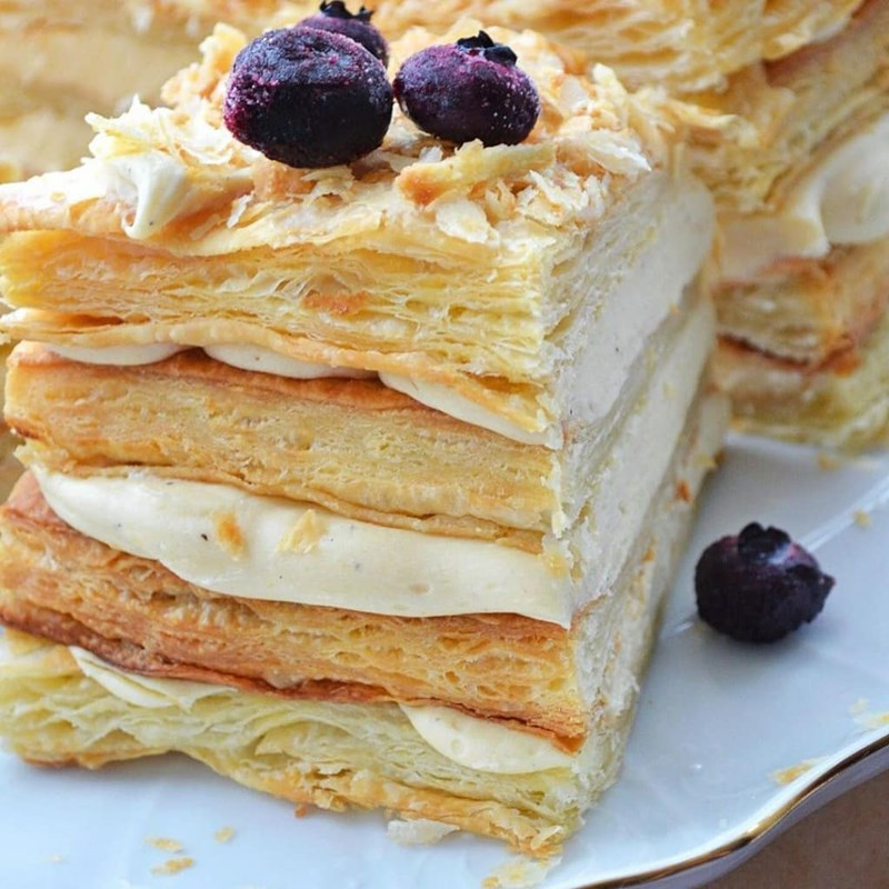 Homemade Napoleon cake with puff pastry-4