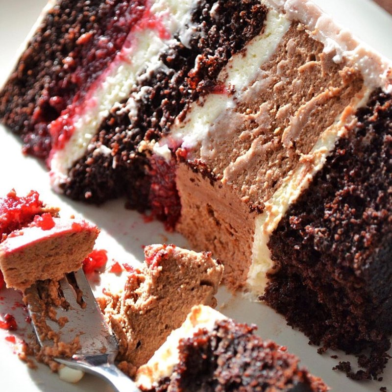 RASPBERRY & LINGONBERRY CAKE WITH CHOCOLATE MOUSSE-3