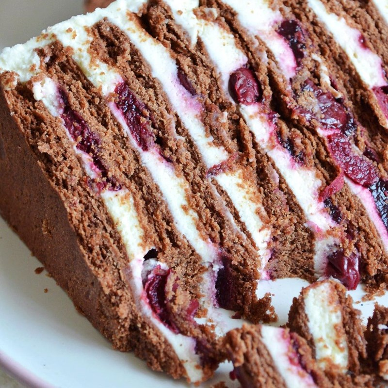 Chocolate cake with cottage cheese & cherries-6